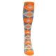 Image of Tangerine Orange Gray Argyle Men's Over-the-Calf Dress Socks (front-04)