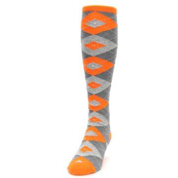 Image of Tangerine Orange Gray Argyle Men's Over-the-Calf Dress Socks (side-2-front-06)