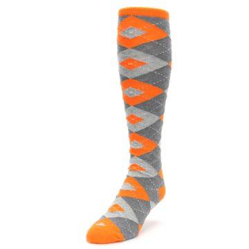 Image of Tangerine Orange Gray Argyle Men's Over-the-Calf Dress Socks (side-2-front-07)