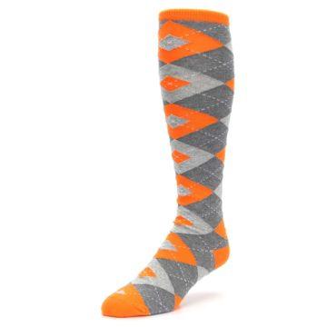 Image of Tangerine Orange Gray Argyle Men's Over-the-Calf Dress Socks (side-2-front-08)