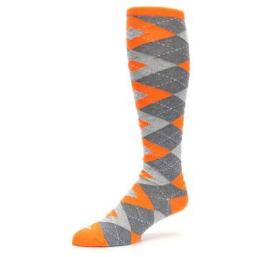 Image of Tangerine Orange Gray Argyle Men's Over-the-Calf Dress Socks (side-2-09)