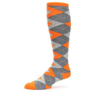 Image of Tangerine Orange Gray Argyle Men's Over-the-Calf Dress Socks (side-2-10)