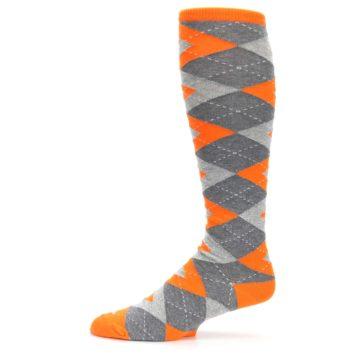 Image of Tangerine Orange Gray Argyle Men's Over-the-Calf Dress Socks (side-2-11)