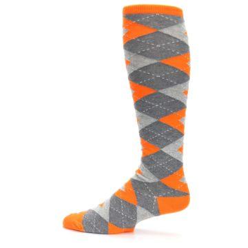 Image of Tangerine Orange Gray Argyle Men's Over-the-Calf Dress Socks (side-2-12)