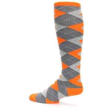 Image of Tangerine Orange Gray Argyle Men's Over-the-Calf Dress Socks (side-2-13)