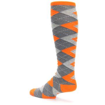 Image of Tangerine Orange Gray Argyle Men's Over-the-Calf Dress Socks (side-2-back-14)