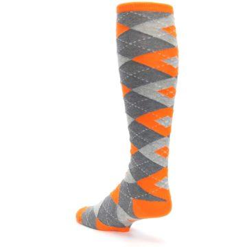 Image of Tangerine Orange Gray Argyle Men's Over-the-Calf Dress Socks (side-2-back-15)