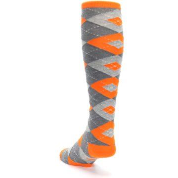 Image of Tangerine Orange Gray Argyle Men's Over-the-Calf Dress Socks (side-2-back-16)