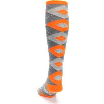 Image of Tangerine Orange Gray Argyle Men's Over-the-Calf Dress Socks (back-17)