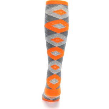 Image of Tangerine Orange Gray Argyle Men's Over-the-Calf Dress Socks (back-18)