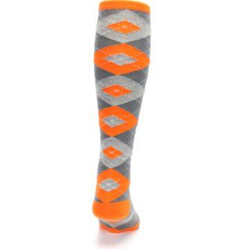 Image of Tangerine Orange Gray Argyle Men's Over-the-Calf Dress Socks (back-19)