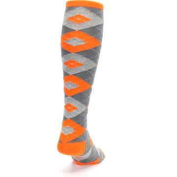 Image of Tangerine Orange Gray Argyle Men's Over-the-Calf Dress Socks (side-1-back-20)
