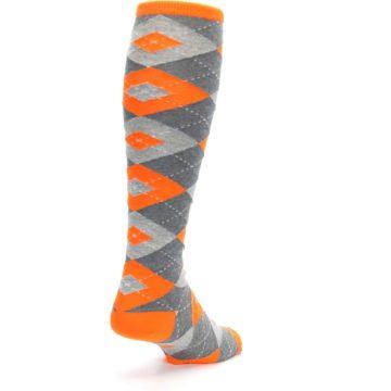 Image of Tangerine Orange Gray Argyle Men's Over-the-Calf Dress Socks (side-1-back-21)