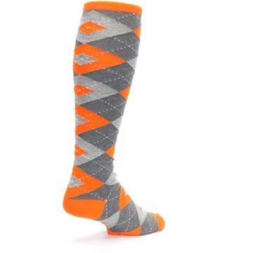 Image of Tangerine Orange Gray Argyle Men's Over-the-Calf Dress Socks (side-1-back-22)