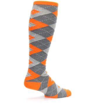 Image of Tangerine Orange Gray Argyle Men's Over-the-Calf Dress Socks (side-1-23)