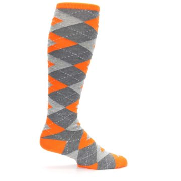 Image of Tangerine Orange Gray Argyle Men's Over-the-Calf Dress Socks (side-1-24)