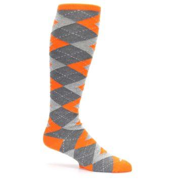 Image of Tangerine Orange Gray Argyle Men's Over-the-Calf Dress Socks (side-1-25)