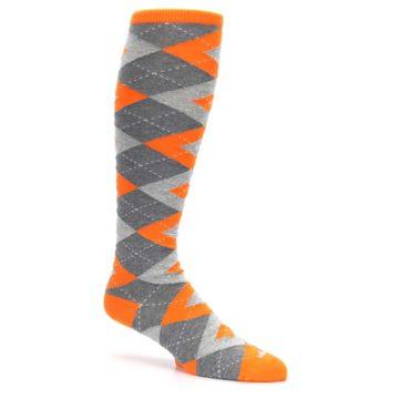 Image of Tangerine Orange Gray Argyle Men's Over-the-Calf Dress Socks (side-1-26)