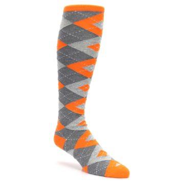 Image of Tangerine Orange Gray Argyle Men's Over-the-Calf Dress Socks (side-1-27)