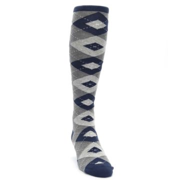 Navy-Gray-Argyle-Mens-Over-the-Calf-Dress-Socks-Statement-Sockwear