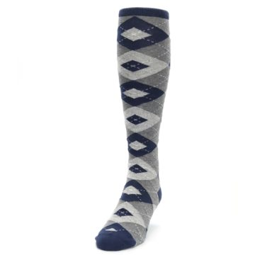 Image of Navy Gray Argyle Men's Over-the-Calf Dress Socks (side-2-front-06)