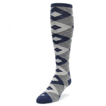 Image of Navy Gray Argyle Men's Over-the-Calf Dress Socks (side-2-front-07)