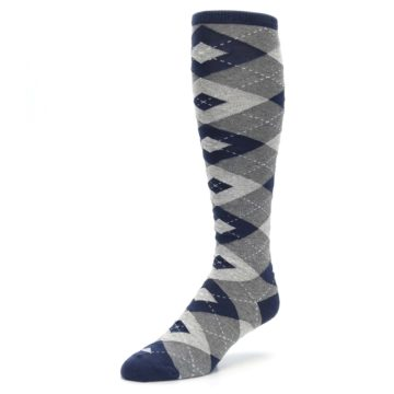 Image of Navy Gray Argyle Men's Over-the-Calf Dress Socks (side-2-front-08)