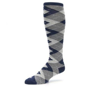 Image of Navy Gray Argyle Men's Over-the-Calf Dress Socks (side-2-09)