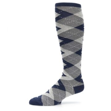 Image of Navy Gray Argyle Men's Over-the-Calf Dress Socks (side-2-10)