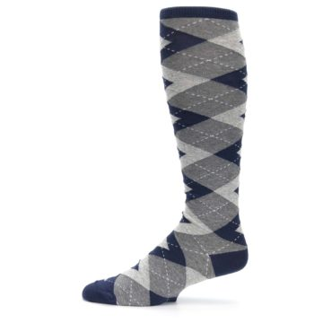 Image of Navy Gray Argyle Men's Over-the-Calf Dress Socks (side-2-11)