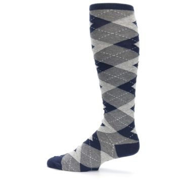 Image of Navy Gray Argyle Men's Over-the-Calf Dress Socks (side-2-12)
