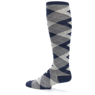 Image of Navy Gray Argyle Men's Over-the-Calf Dress Socks (side-2-13)