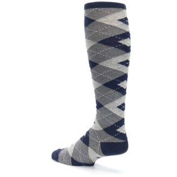 Image of Navy Gray Argyle Men's Over-the-Calf Dress Socks (side-2-back-14)