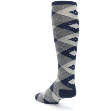Image of Navy Gray Argyle Men's Over-the-Calf Dress Socks (side-2-back-15)