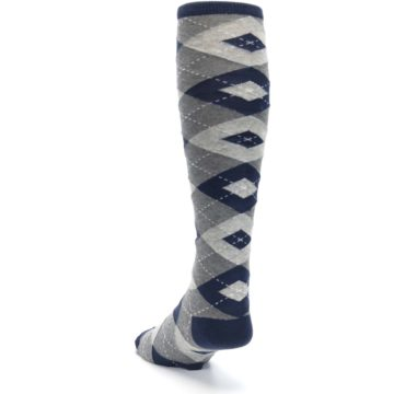 Image of Navy Gray Argyle Men's Over-the-Calf Dress Socks (side-2-back-16)