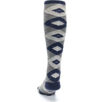 Image of Navy Gray Argyle Men's Over-the-Calf Dress Socks (back-17)