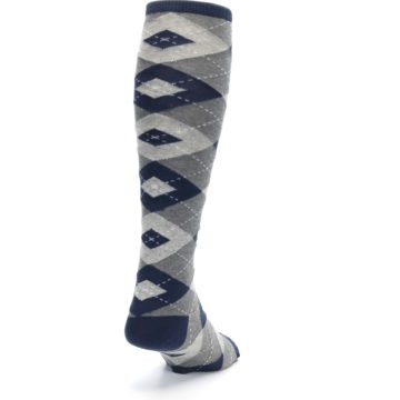 Image of Navy Gray Argyle Men's Over-the-Calf Dress Socks (side-1-back-20)