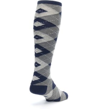 Image of Navy Gray Argyle Men's Over-the-Calf Dress Socks (side-1-back-21)