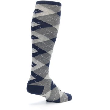 Image of Navy Gray Argyle Men's Over-the-Calf Dress Socks (side-1-back-22)