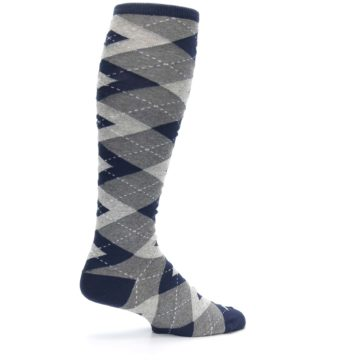 Image of Navy Gray Argyle Men's Over-the-Calf Dress Socks (side-1-23)