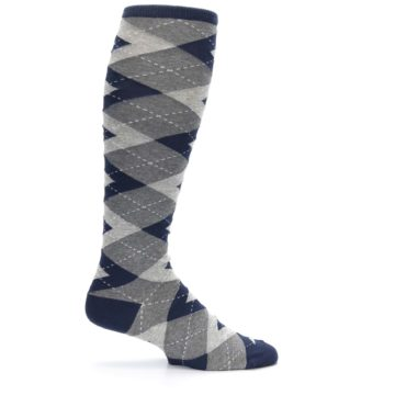 Image of Navy Gray Argyle Men's Over-the-Calf Dress Socks (side-1-24)