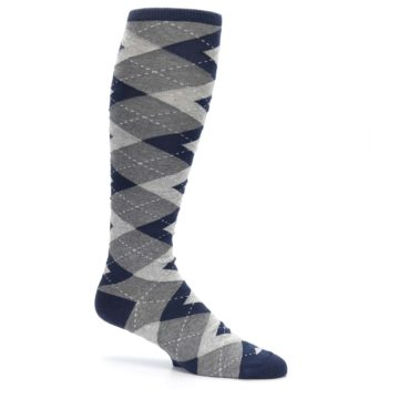 Image of Navy Gray Argyle Men's Over-the-Calf Dress Socks (side-1-25)