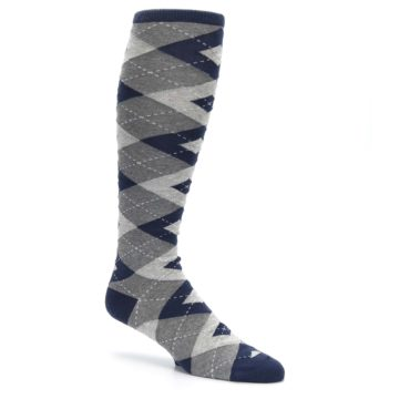 Image of Navy Gray Argyle Men's Over-the-Calf Dress Socks (side-1-26)
