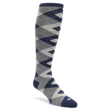 Image of Navy Gray Argyle Men's Over-the-Calf Dress Socks (side-1-27)