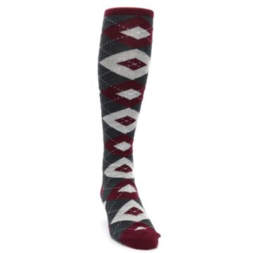 Image of Burgundy Gray Argyle Men's Over-the-Calf Dress Socks (side-1-front-03)