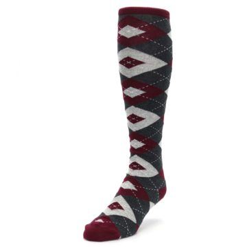 Image of Burgundy Gray Argyle Men's Over-the-Calf Dress Socks (side-2-front-07)