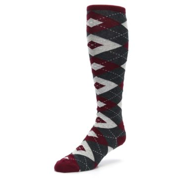 Image of Burgundy Gray Argyle Men's Over-the-Calf Dress Socks (side-2-front-08)