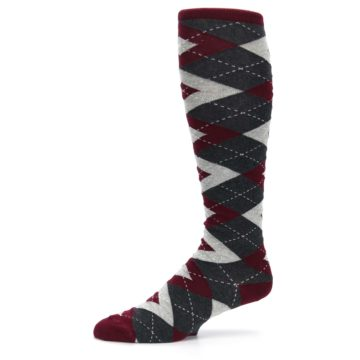 Image of Burgundy Gray Argyle Men's Over-the-Calf Dress Socks (side-2-10)