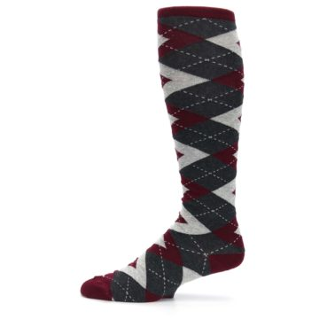 Image of Burgundy Gray Argyle Men's Over-the-Calf Dress Socks (side-2-11)