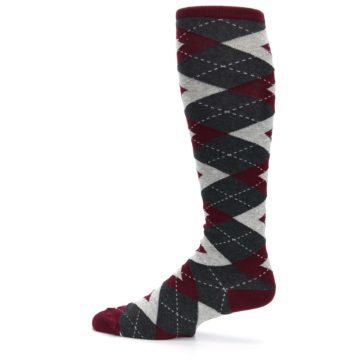 Image of Burgundy Gray Argyle Men's Over-the-Calf Dress Socks (side-2-12)